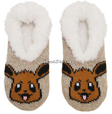 Pokemon EEVEE Cozy Fluffy Faux fur Slippers Socks Anti Slip Soles Nintendo NWT