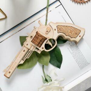 Revolver Gun Puzzle Building Blocks DIY Rubber Band Bullet Wooden Model