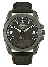 HARLEY-DAVIDSON® MEN'S BAR & SHIELD RUGGED STEEL BLACK BULOVA WATCH 78B143