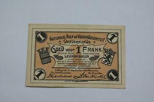 BANKNOTE BELGIUM 1 FRANK 1918 DENDERMONDE B21 BEL119
