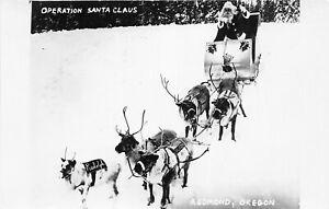 H48/ Redmond Oregon RPPC Postcard c1950s Reindeer Santa Claus Sleigh