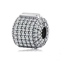 Clip Lock Spacer Stopper Charm Bead Crystal Clip Beads Suits Pandoras Bracelet