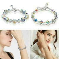 "Aurora Borealis Bracelet with Gemstone Crystals 18K White Gold Adjustable 7""-9"""