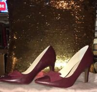 Franco Sarto Red Heels with Bows Size 6 M Leather Pump Aphrodite Style Women's