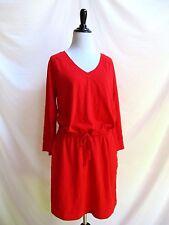 Gap Size M Red V Neck Dress Loose Fit Elastic Tie Waist Pockets 100% Cotton