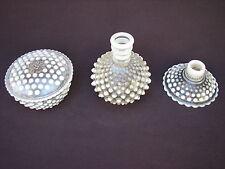 3 Lot Vintage Opalescent Hobnail Box Candlestick Perfume Bottle - Anchor Hocking