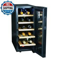 12 Bottles Mini Fridge Cooler Wine Beverage Led Glass Door Digital Control Black