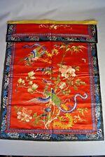 Antique Chinese Embroidery Forbidden Stitch Red Silk Panel Phoenix Birds