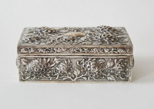 320 GR. ANTIQUE CHINESE EXPORT SILVER BOX SIGNED LUENWO SHANGHAI QING DYNASTY