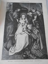Gravure 1899  L'adoration des Mages d'après Hans Holbein