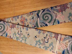 Authentic Traditional Geisha Asian Crane Pattern Japanese Obi Belt 10ft Long