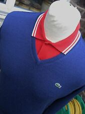 NWT MENS LACOSTE V-NECK BLUE JUMPER S/M 36/38 FAST FREE 1ST CLASS SIGNED POST