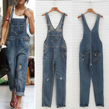 Womens Baggy Cigarette Denim Suspender Jeans Overall Long Pants Jumpsuit Romper