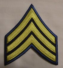 Military Rank Stripes Chevrons Patch 3-Yellow Stripes  on Royal Blue Field NEW