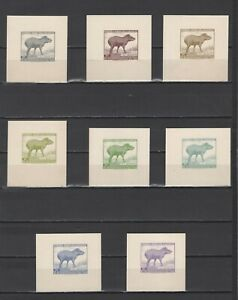 ++ 1961 Fauna 12,45 Nominal in Different Colour Thick Paper