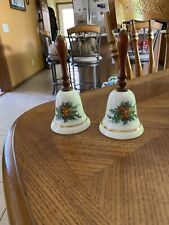 Preowned 1985 Avon Christmas Collectible Bells w/Wooden Handle-Harvest Autumn