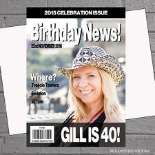 Personalised Adult Birthday Party Invitations Magazine Photo x 12 +envs H0906