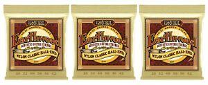 Ernie Ball 2069 Earthwood Nylon Ball End Classical Guitar Strings 28-42 (3-Pack)