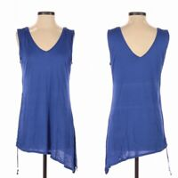 White House Black Market Blue Side Slit Ruched Asymmetrical Sleeveless Top Sz XS