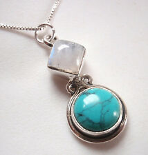 Turquoise and Moonstone Two-Gem 925 Sterling Silver Pendant Corona Sun Jewelry