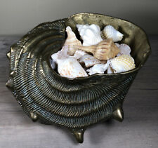 Heavy Solid Brass Vintage Conch Sea Shell Planter Bowl 8� Long