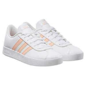 Adidas Girl's VL Court 2.0 K Skateboard Sneaker Shoes, White
