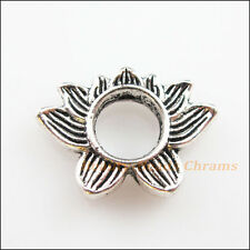 6Pcs Tibetan Silver Tone Lotus Flower Spacer Beads Frame Charms 13.5x19mm