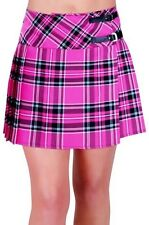 Womens Buckle Casual Tartan Checkered Pleasted Billie Kilt Mini Dress Skirt