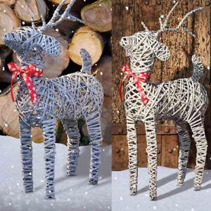Christmas Wicker Rattan Reindeer Decoration Indoor/Outdoor Dancer/Dasher Natu...