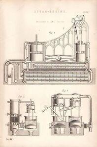 1868 Aufdruck Steam Engine ERICCSON'S Caloric Sektionen