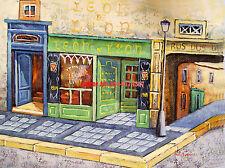 "12x16""100% hand painted oil flat ,50% OFF, Street scene/Paris/Restaurant"