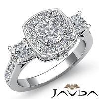 Three Stone Cushion Diamond Pave Engagement Ring GIA H SI1 14k White Gold 2.1 ct