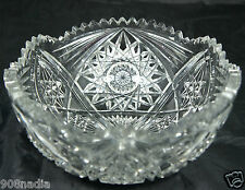 VINTAGE CUT GLASS OR CRYSTAL SALAD/FRUIT BOWL VASE STARBURST,LONE STAR PATTERN