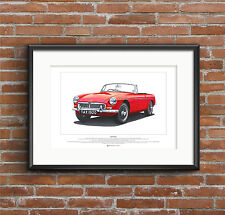 MGB Roadster ART POSTER A2 size