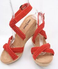 "Minnetonka Orange Suede Leather Straw Wedges Ankle Buckle Sandals 3"" Sz 6 M"