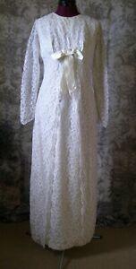 Vintage 1960s Empire line White  Lace  Wedding dress Regency style size u k 8-10