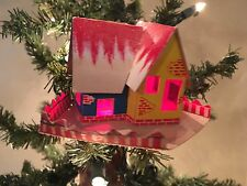 Vintage Handcrafted Putz Cardboard Light Cover,House ,Cellophane Windows,Fence