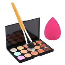 15 Colors Neutral Makeup Concealer Foundation Cream Palette Sponge Puff Brush US