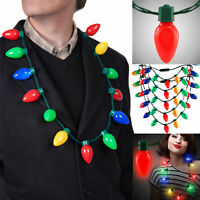 Christmas Necklace LED Lighted Xmas Bulbs Kids Adults Party Favors Light Up