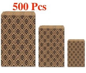 500Pc Flat Kraft Paper Bags Cheap Gift Bag Cheap Bags Damask Kraft Gift Bags