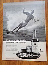 1960 Walker's DeLuxe Whiskey Ad Water Skiing