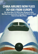 CHINA AIRLINES TAIWAN B747-400 INTRO BROCHURE 1989 ROUTE MAP