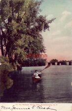 Pre-1907 On The Mohawk River near Schenectady, Ny woman paddling canoe