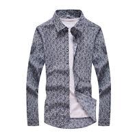 Men's Brand Stylish Long Sleeve Slim Fit Shirt Casual Printed Cotton Shirts New