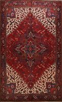Excellent Vintage Geometric Red Heriz Serapi Area Rug Hand-knotted 9'x11' Carpet