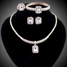 Fashion Women Africa Dubai Wedding Party Gemstone Crystal Necklace Jewelry Sets