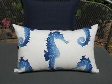 Outdoor Blue Offwhite Seahorse Sea Dragon Marine Cushion Cover 33x53cm AU Made