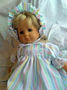 "SSO DOLL CLOTHES 4pc PASTEL STRIPE PRINT DRESS SET for 18"" CLOTH BODY BABY DOLLS"