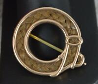 Rare 1802 Georgian Rose Gold Enamel & Hair Belt Mourning Brooch