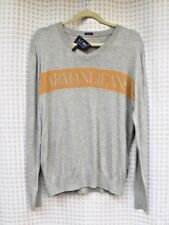 AJ ARMANI JEANS Classic Regular Graphic Cotton V Neck Sweater Pullover SZ L EUC